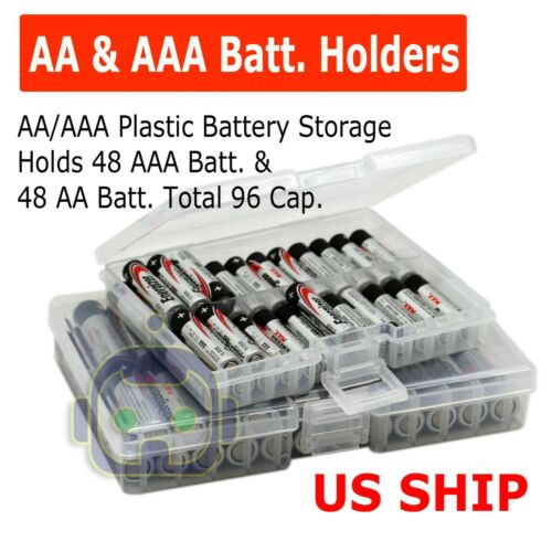 Clear AA/AAA Battery Storage Case/Box/Organizer Plastic Holds 96 batteries 2-PK