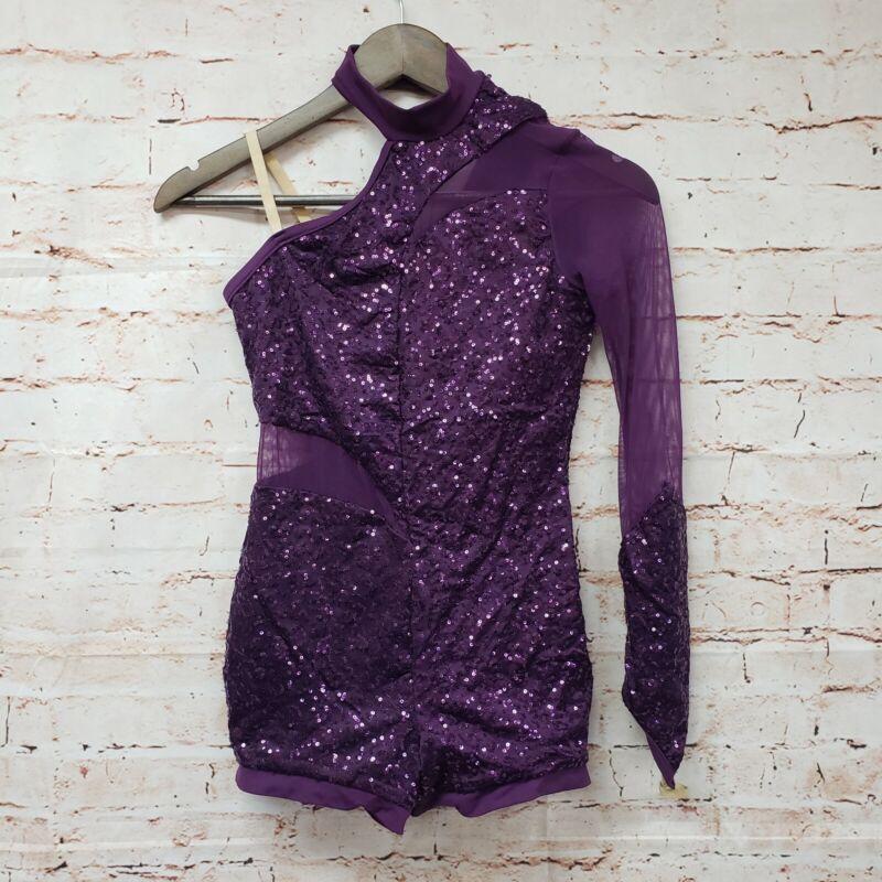Weissman Girls Sequin Dance Costume Sz L Child Purple