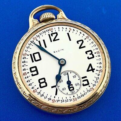 1927 Elgin 10K Gold Filled BW Raymond RR Grade 478 Open Face Pocket Watch Works