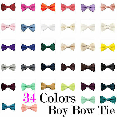 Boy's Straigt Cut Solid Pre-tied Bow tie Kid's Bowtie Wedding Party Prom