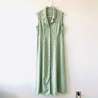 Robbie Bee True Vintage 90's Green Floral Print Button Down Midi Dress Size 10