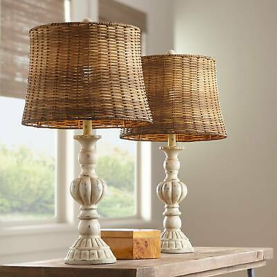 Trinidad Antique White Candlestick Table Lamps Set of 2