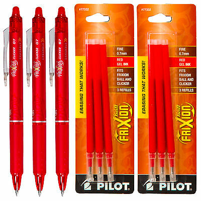 Pilot Frixion Clicker Erasable Red Gel Ink Pens 3 Pens With 2 Packs Of Refills