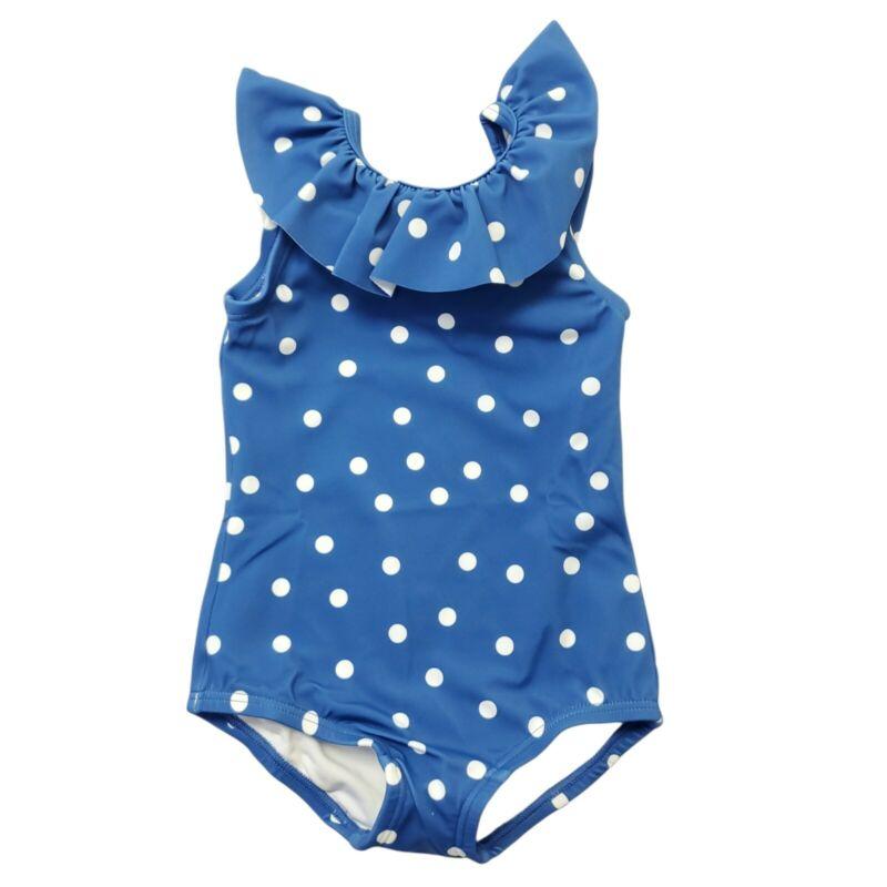 Hanna Andersson Sunblock Swimsuit Sz 2T Blue Polka Dot Ruffle One Piece 85 CM