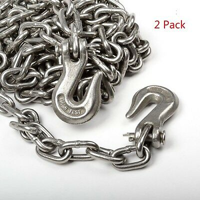 2pack 516 X 14ft Tow Chain Tie Down Binder Chain Flatbed Truck Trailer Safety