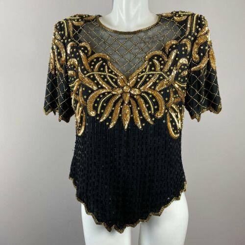 Vtg 90s Laurence Kazar Black Gold Sequin Blouse Shoulder Pads Silk Size Large