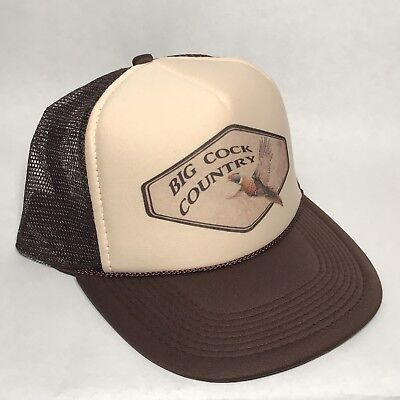 Big Cock Country Trucker Hat Pheasant Hunting Vintage Style Brown Snapback Cap