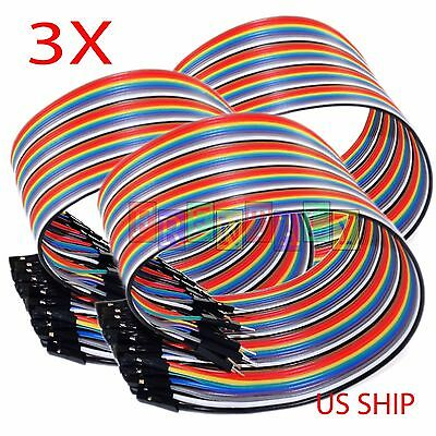 3X 40pcs 20cm 2.54mm Male to Female Dupont Wire Jumper Cable Arduino Breadboard