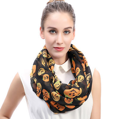 Halloween Ideas For Womens (Pumpkins Print Womens Infinity Loop Scarf Halloween Wear Gift Idea for)