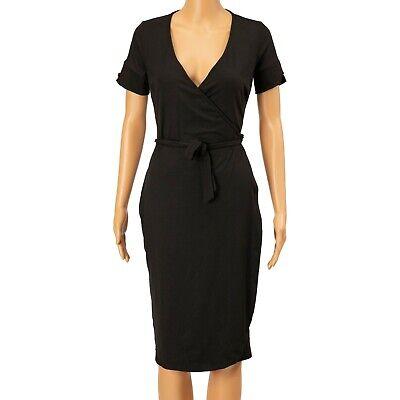 Unique Vintage Wrap Dress Short Sleeves Black Size S 0074
