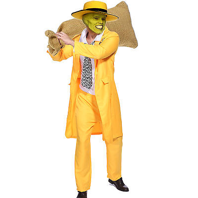 Mens The Mask Jim Carrey Cosplay Costume Stag do Gangster Zoot Suit Fancy Dress (Gangster Man Costume)
