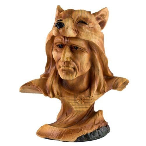 """Mini Bust Native American Indian w/Wolf Cap Faux Carved Wood Look Figurine 4"""""""