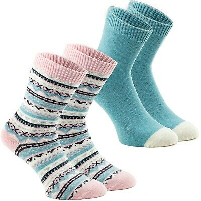 Cashmere Damen-socken (2 Paar Damen Socken Norwegersocken Woll-Mix Rosa Mint Cashmere Touch Gr. 35-42)