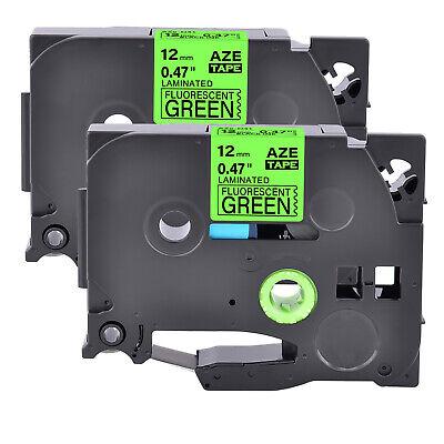 2pk Fits Brother P-touch Pt-d210 Tz Tze-d31 Fluo Green Label Tape 0.47
