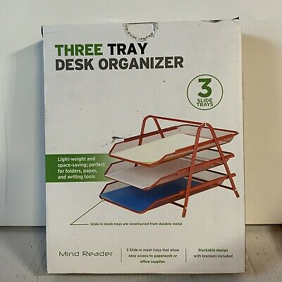 Desk Organizer With 3 Sliding Trays For Documents Files Paper Red