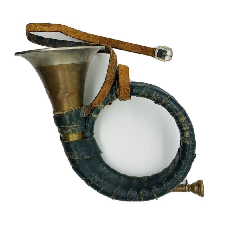 Vtg German Furst-Pless Brass Hunting Bugle Horn Green Leather Banding Instrument