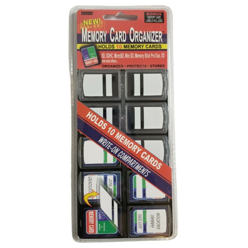 New!!  Pioneer 10 Compartment Memory Card Organizer Labels Included Protects