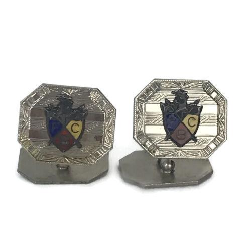 Antique FBC Knight Of Pythias Fraternal Masonic Silver Enamel Cufflinks Hayward