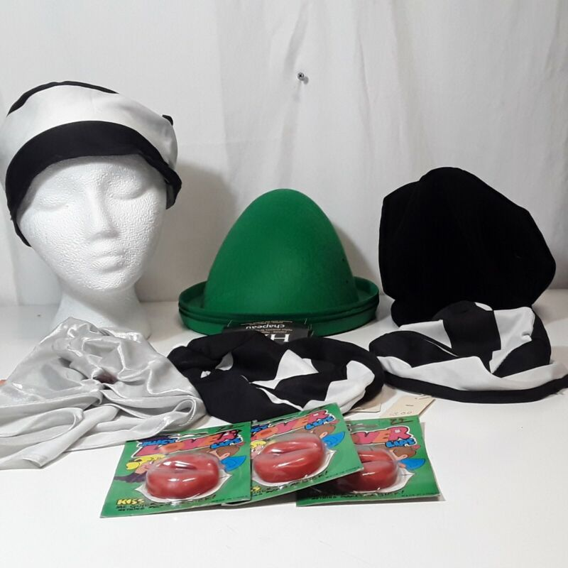 Halloween Costume Lot 11 Pieces Hats And Lips