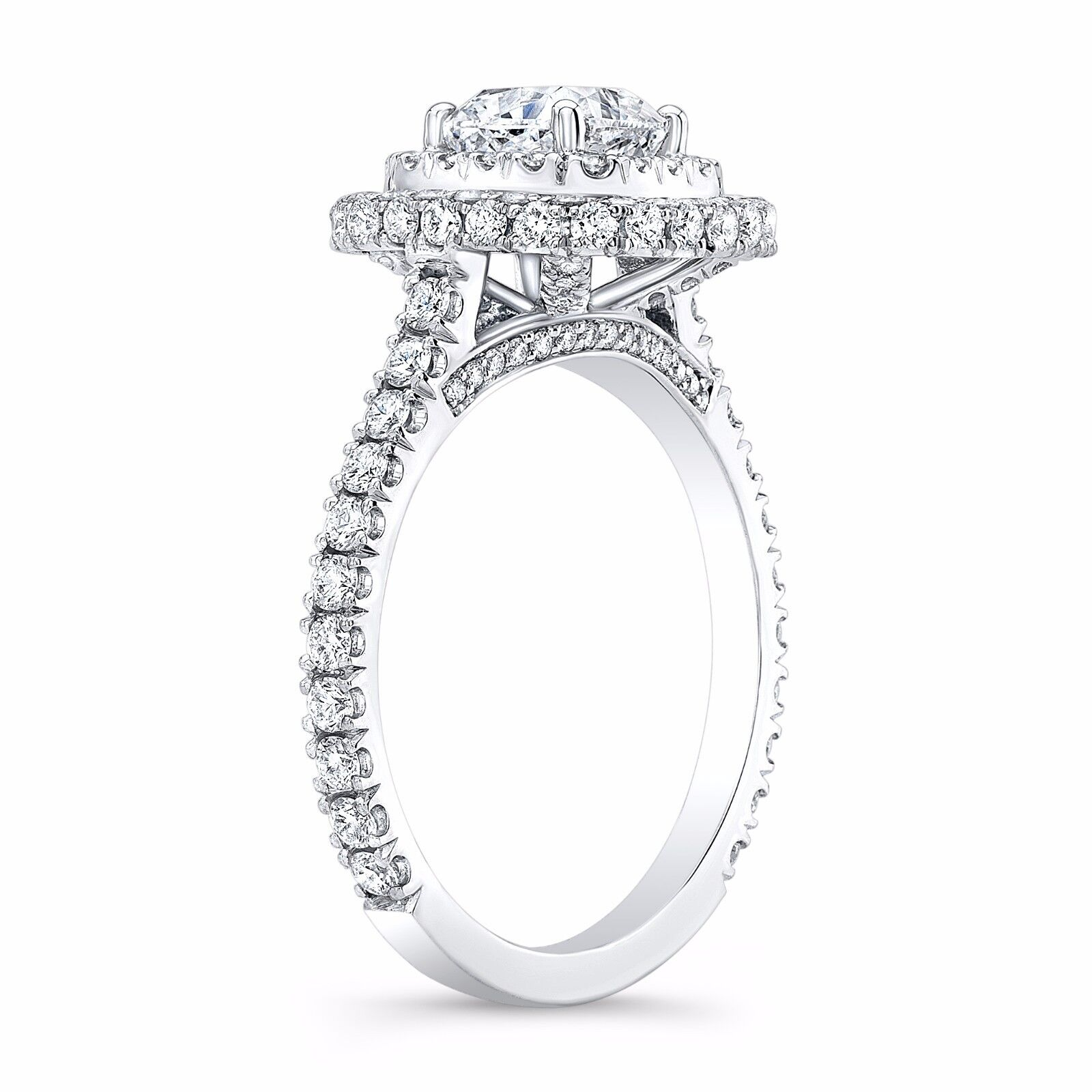 2.40ctw Natural Cushion Double Halo U-Prong Diamond Engagement Ring - GIA 1