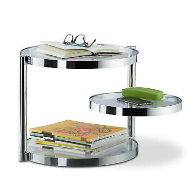 Mesa auxiliar cristal, Mesita de centro, Mesa de café redonda, Balda giratoria