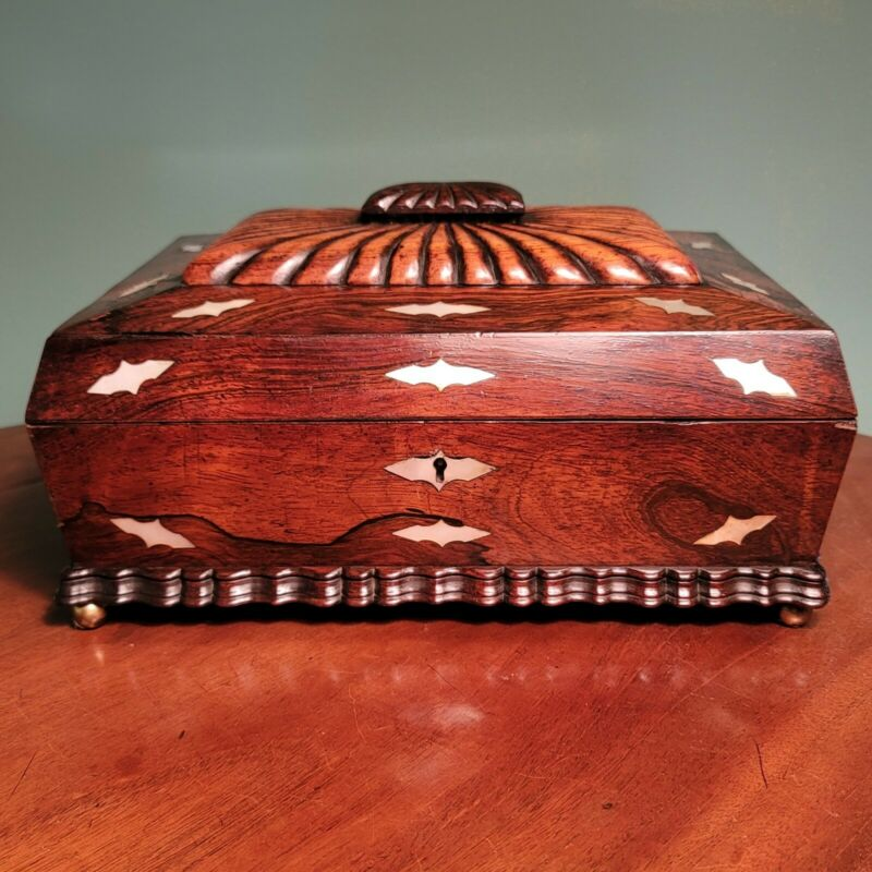 Large Antique MOP Inlaid Rosewood Sewing Box