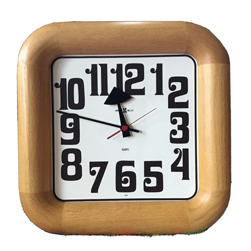 Vintage Howard Miller Clock Oak 70s Wall Retro Gorgeous Works Huge 622 529 USA