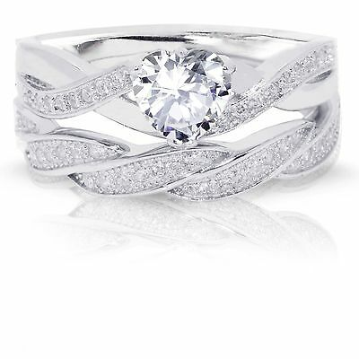 Diamond Set Celtic Ring - Infinity Celtic Simulated Diamond Heart Engagement Wedding Silver Ring Set