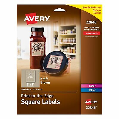 Avery Print-to-the-edge Square Labels Kraft Brown 2 X 2 Inches Pack Of 300
