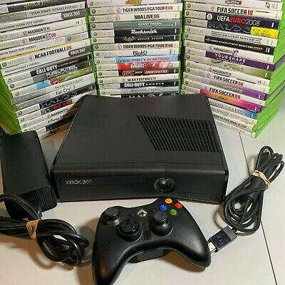 Xbox 360 Slim Black Console Bundle Controller Cables HDD 5 Video Games Microsoft