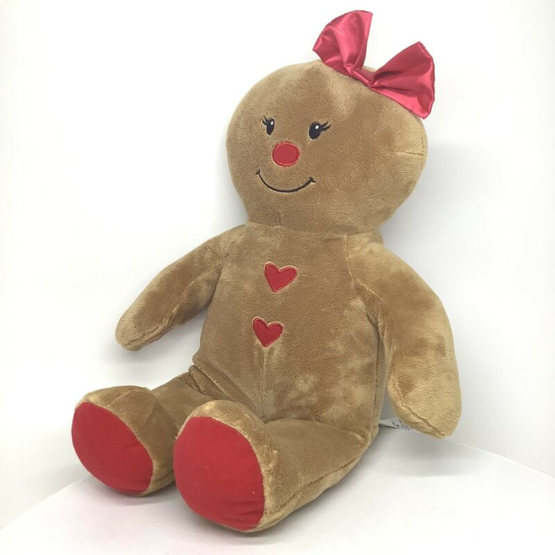 """Build A Bear Gingerbread Girl Red Bow Holiday Christmas Plush 16"""" Brown - Red"""