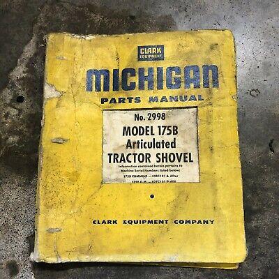 Clark Michigan Shovel Tractor 175b Shovel Loader Parts Manual Hancock 2998