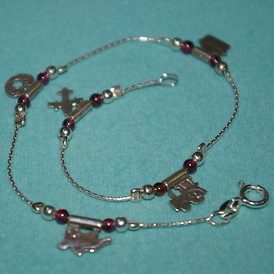 Garnet Silver Anklet (Sterling Silver 925 CHARMS and GARNET Gemstone Beads ANKLET - BalliSilver )