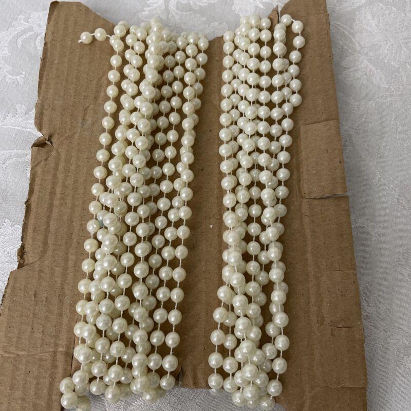Vintage Medium White Bead Tree Garland  Smooth White Beads 2 Pieces 31 Ft