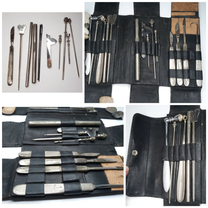 Antique Medical Surgical Instrument Set Kit Scalpel Blood Letting Trocar Leather