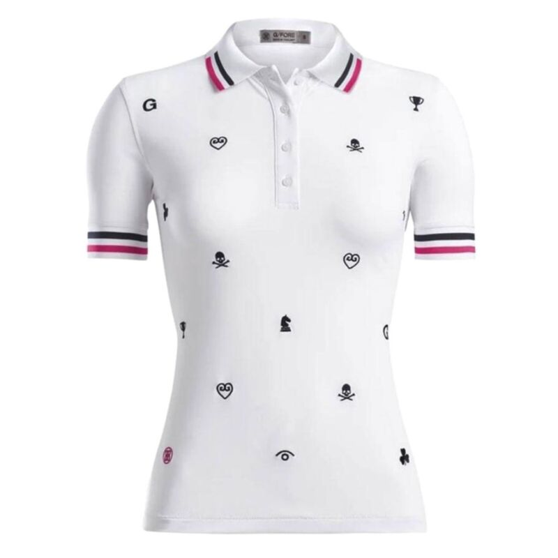 G/Fore Skull/Heart/Logo Embroidered Polo NWT $145 M L Womens Golf GFore
