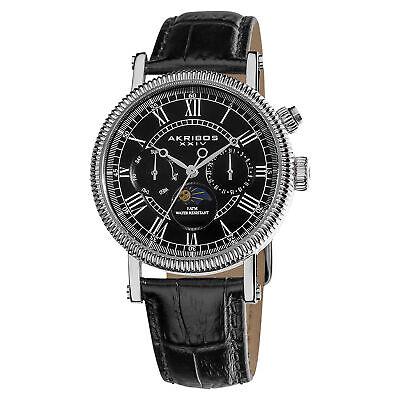 Men's Akribos XXIV AK610BK Swiss Quartz Multifunction Genuine Leather Watch