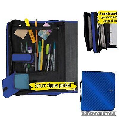 New Five Star Zipper Binder 2 Inch 3 Ring Binder Expansion Folder Durable Blue
