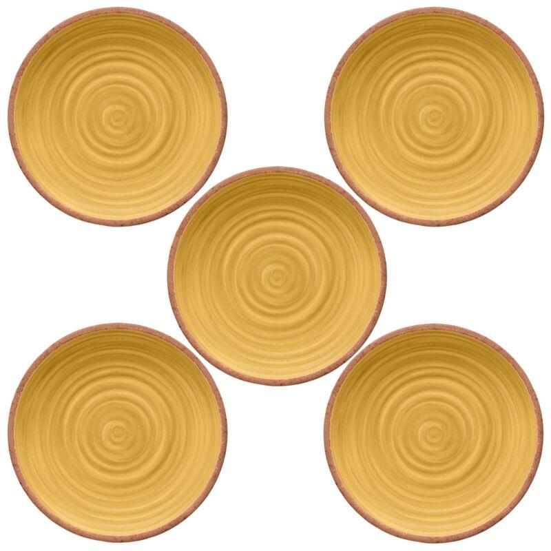 Rustic Swirl YELLOW Melamine Dinner Plate x 5