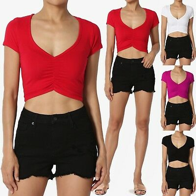 Ruched Front Top (TheMogan Ruched Front Short Sleeve Crop Top Soft Lightweight Cotton Jersey Tee)