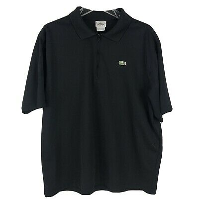 Lacoste Sport Mens Size 6 Short Sleeve Black Modern Stretch 1/4 Zip Polo Shirt