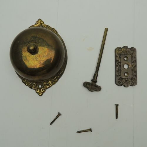 VTG Brass Mechanical Twist Door Bell Feather ornate working