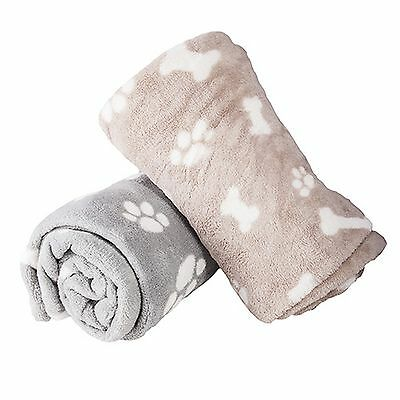 1x Super Soft Micro Fibre Paw Bone Print Design Small Pet Dog Puppy Blanket 70cm