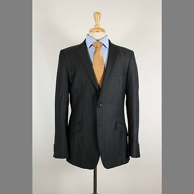 Zara 42R Gray Stripe Wool Two Button Mens Sport Coat Blazer Jacket
