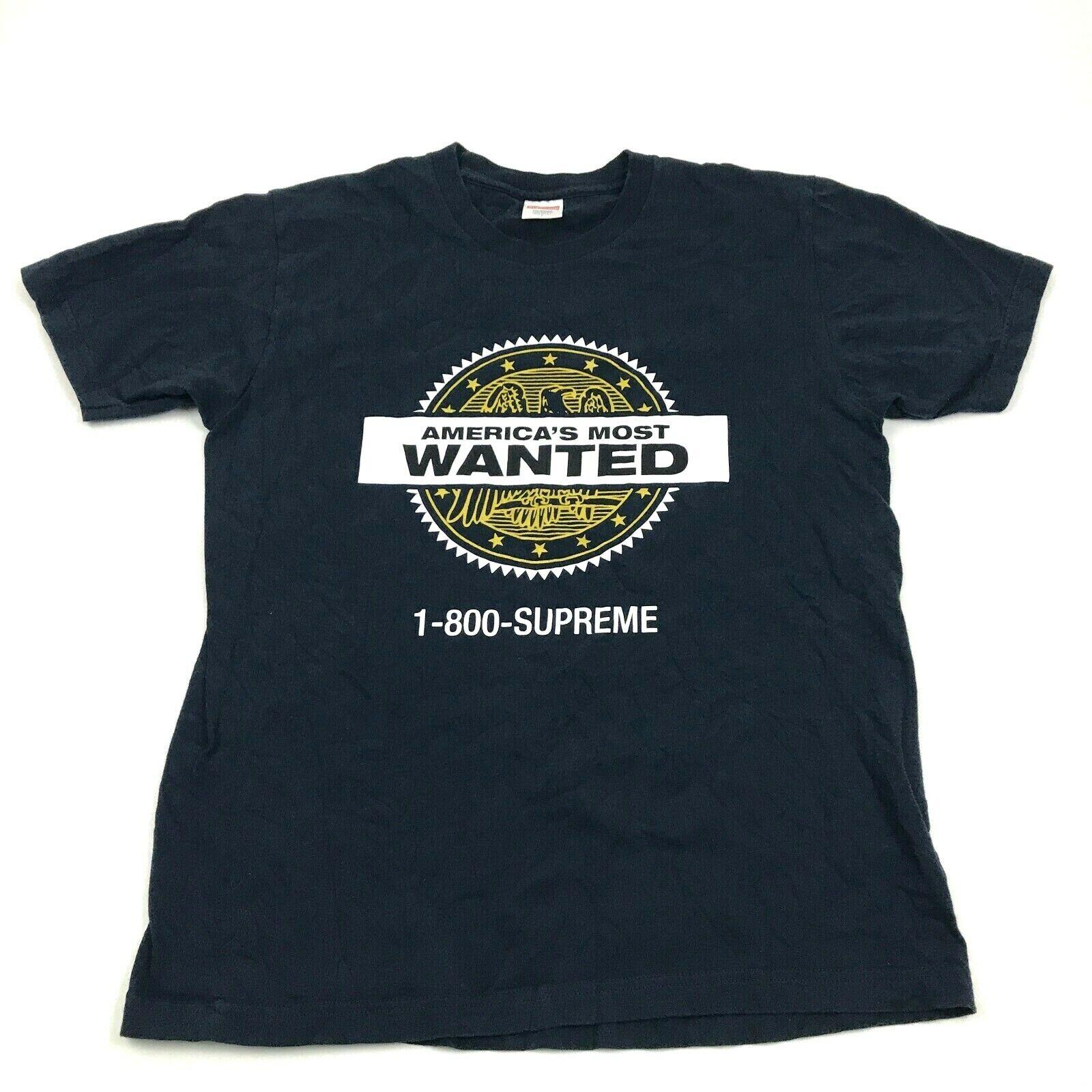 Supreme most wanted chemise taille l adulte bleu foncé t-shirt
