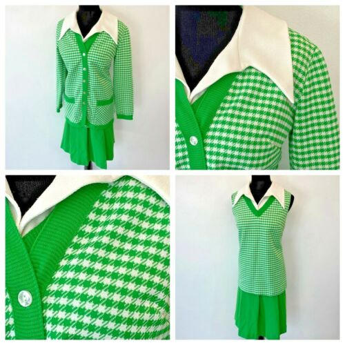 Vintage 1960s Green Checked Top Cardigan and Skirt Set size M L Big Collar SK3
