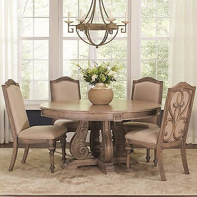 AWESOME ANTIQUE LINEN FINISH ROUND DINING TABLE CHAIRS DININGROOM FURNITURE SET  Antique Dining Room Furniture