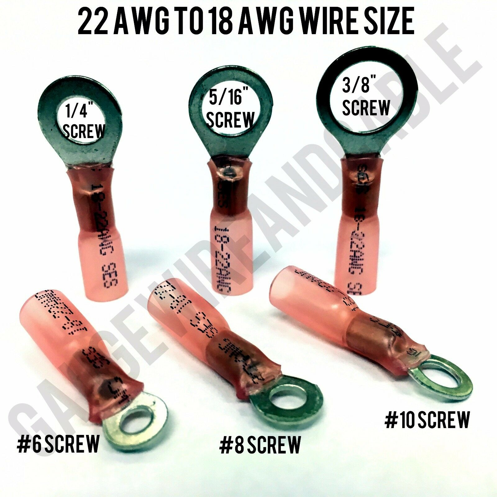 Ring Terminals Copper Wire Crimp Connectors USA Made 3M Adhesive Heat Shrink