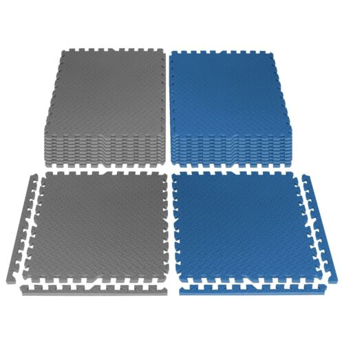 """STOZM Interlocking Mats with Borders 24x24x1"""" – Pack of 20 Tiles Cover 80sqft"""