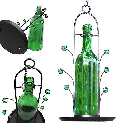 Green Wine Bottle Seed Bird Feeder Easy Fill Bright Colorful Attracts Birds